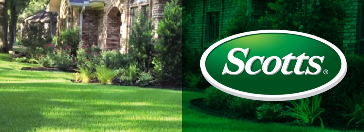 Scotts logo with green grass on lawn