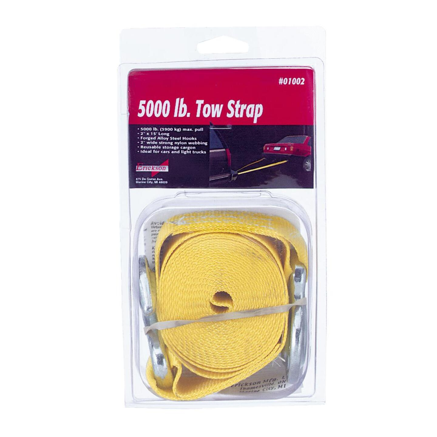 Erickson 2 In. x 15 Ft. 2500 Lb. Polyester Tow Strap with Hooks, Yellow Image 1